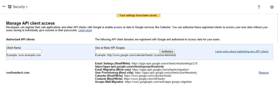 Google Apps Manage API client Access