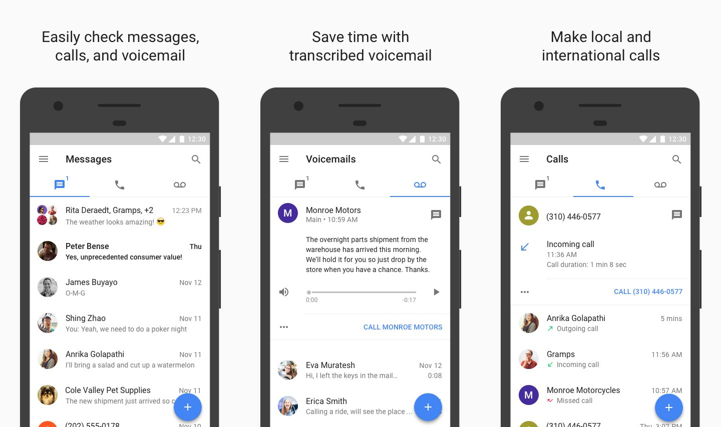 Google Voice Screenshots on Mobile